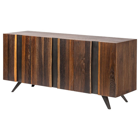 Eye-Catching White Oak Storage Credenza w/ Cast Iron & Live Edges