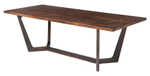 "Contemporary 94"" Conference Table or Desk with Seared Oak Top & Oxidized Gray Oak Base"