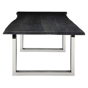 "112"" Inspiring Oxidized Grey & Steel Conference Table w/ Live Edge"
