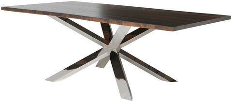 "Modern 96"" Seared Oak & High Polish Stainless Steel Conference Table"