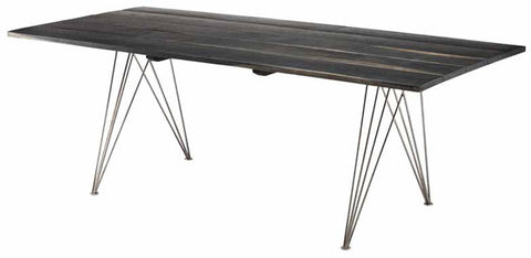 "Modern 81"" Desk or Conference Table with Ebonized Oak Top & Stainless Steel Legs"