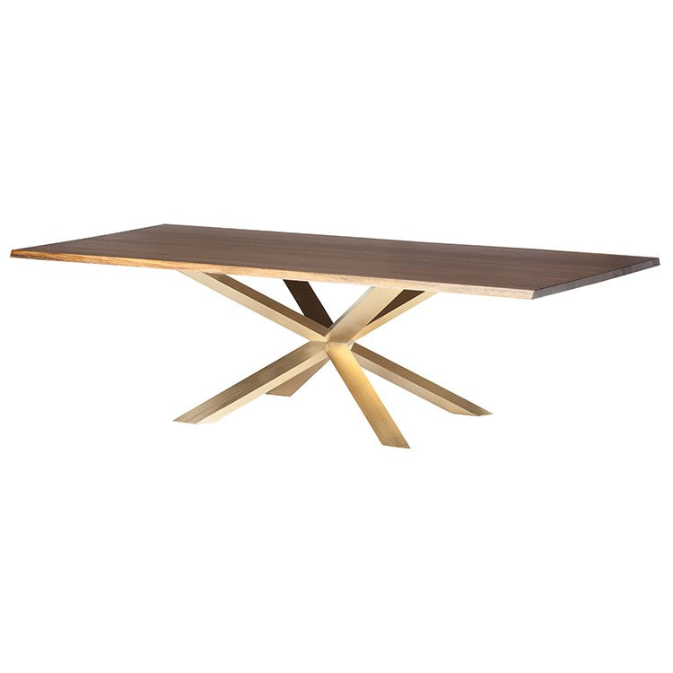 Bold Conference Table with Seared Oak & Brushed Gold Steel (Multiple Sizes)