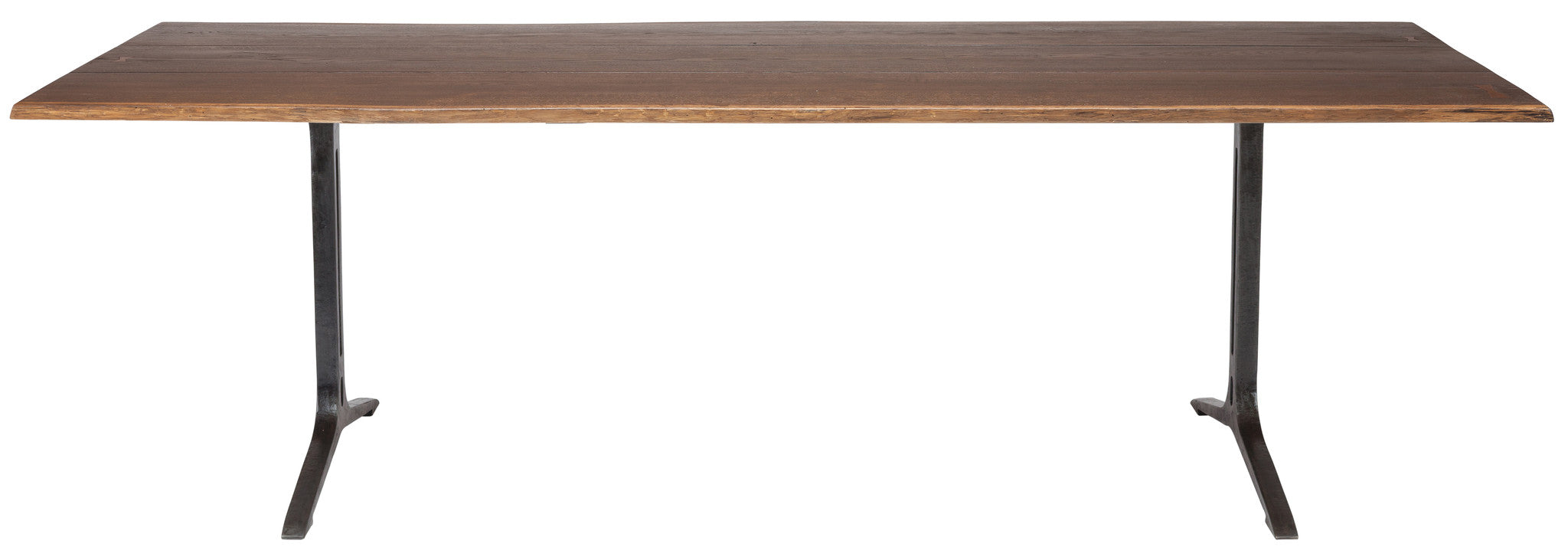 "96"" Solid Oak Conference Table with Cast Iron Legs (Seared Or Smoked)"