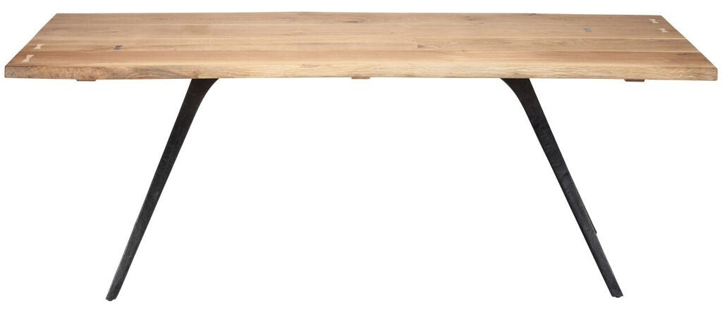 "Modern 83"" Solid Oak & Cast Iron Desk or Conference Table"