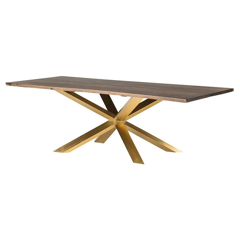 "96"" Brushed Gold & Seared Oak Conference Table"