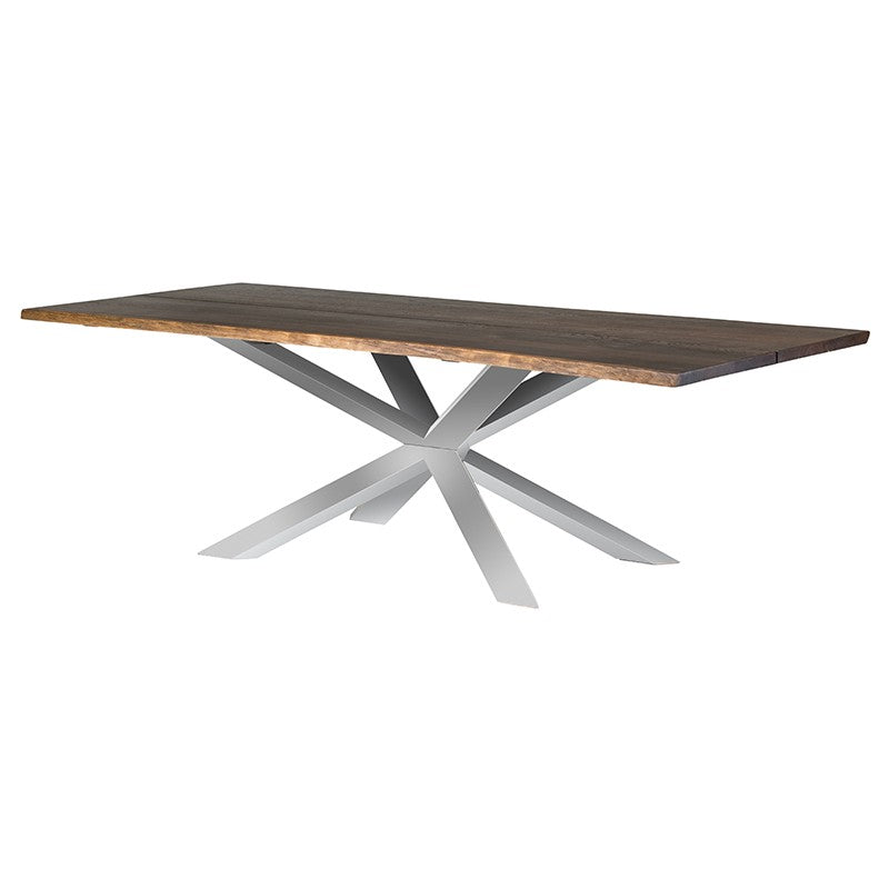 "96"" Polished Stainless Steel & Seared Oak Conference Table"