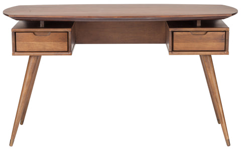 "55"" American Poplar Contemporary Desk in Walnut Finish"