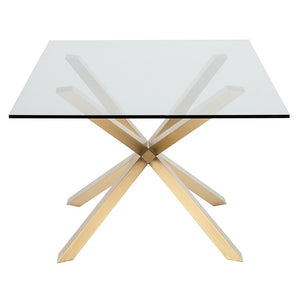 Chic Conference Table with Glass Top & Gold Brushed Steel