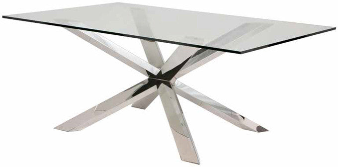 Modern Clear Glass 95 Quot Conference Table With Silver Or