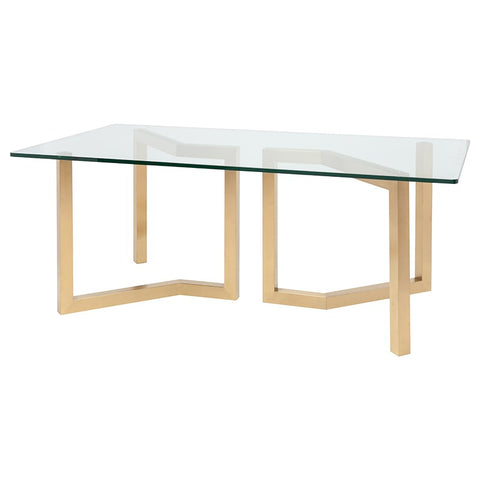 "79"" Chic Glass & Gold Executive Desk or Meeting Table"