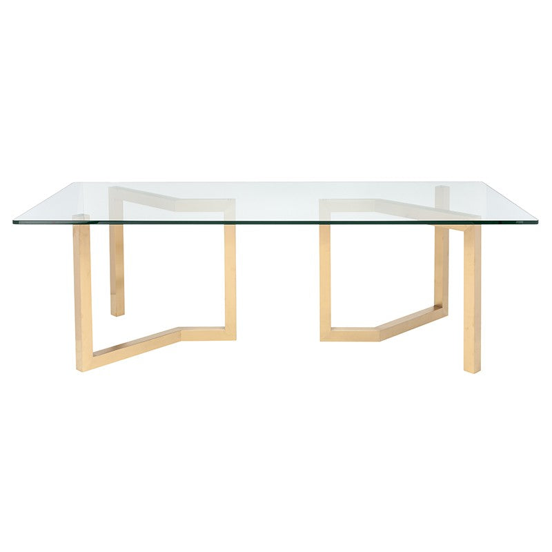 "95"" Chic Glass & Gold Conference Table"