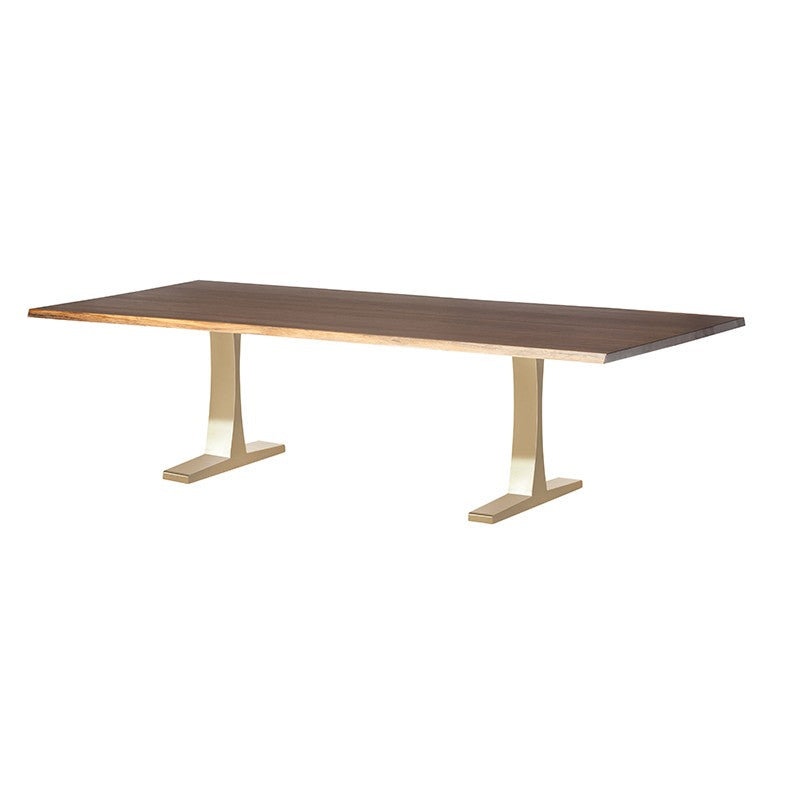Chic Modern Conference Table in Seared Oak & Gold (Multiple Sizes)