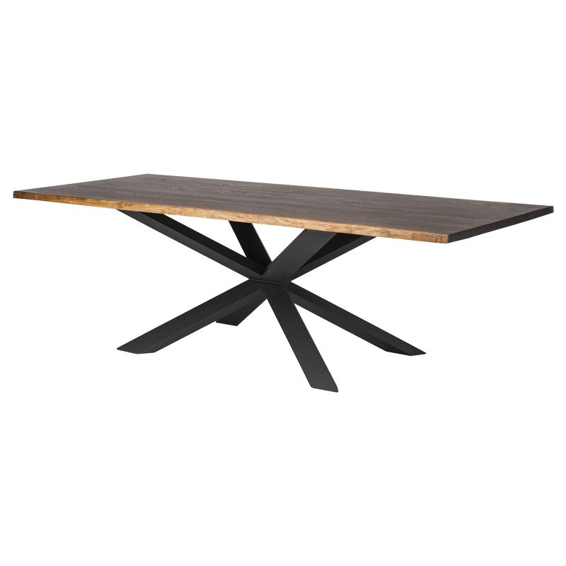Striking Conference Table with Seared Oak Top & Blackened Steel Base