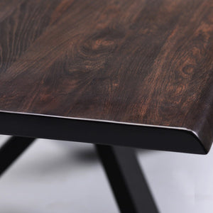 "Stunning Seared Oak & Matte Black 112"" Conference Table"