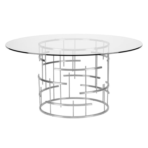 "59"" Round Glass & Polished Steel Meeting Table w/ Cross Hatch Design"