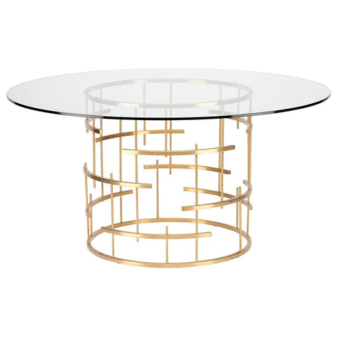 "59"" Round Glass & Gold Meeting Table w/ Cross Hatch Design"