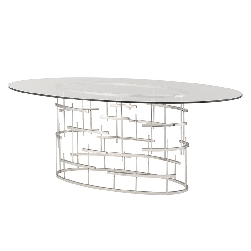 "77"" Oval Glass Meeting Table w/ Cross Hatch Design"