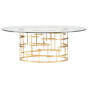 "77"" Oval Glass & Gold Meeting Table w/ Cross Hatch Design"