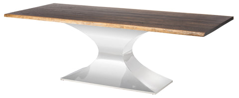 "Solid Seared Oak & Polished Steel 96"" Conference Table"