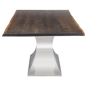 "112"" Chic Conference Table in Seared Oak & Stainless Steel"