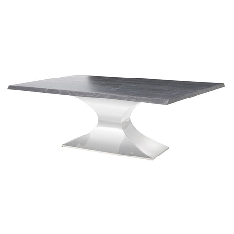 "112"" Chic Conference Table in Oxidized Grey Oak & Stainless Steel"