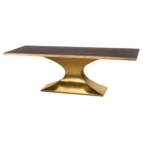 "112"" Sleek Conference Table in Seared Oak & Brushed Gold"