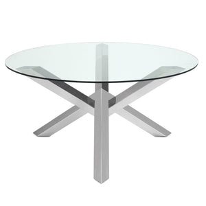 "Bold Glass & Brushed Steel 59"" Round Meeting Table"