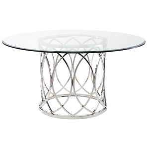 "Dazzling 59"" Round Office Meeting Table of Glass & Stainless Steel"