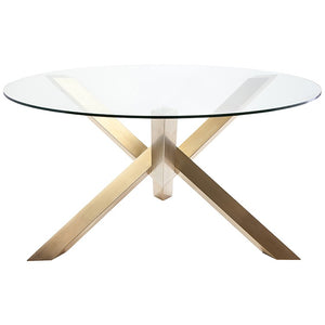 "Charming Glass & Gold-Brushed Steel 59"" Round Meeting Table"