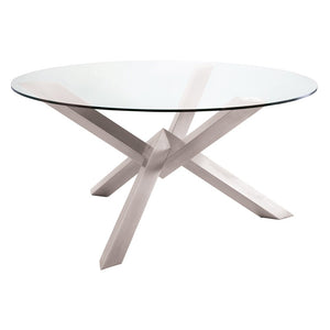 "Stunning Glass & Brushed Steel 72"" Round Meeting Table"