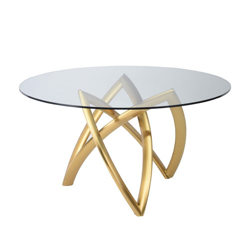 "53"" Charming Glass-Top Meeting Table w/ Gold-Brushed Steel Base"