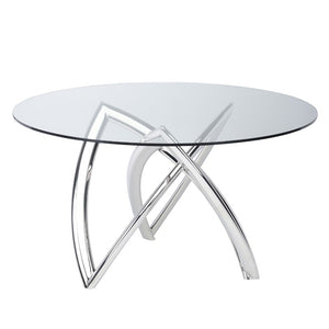 "53"" Charming Glass-Top Meeting Table w/ Polished Steel Base"