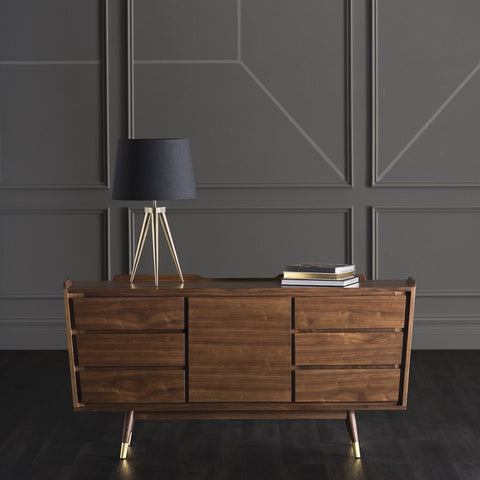 Classic Walnut & Orange Storage Credenza