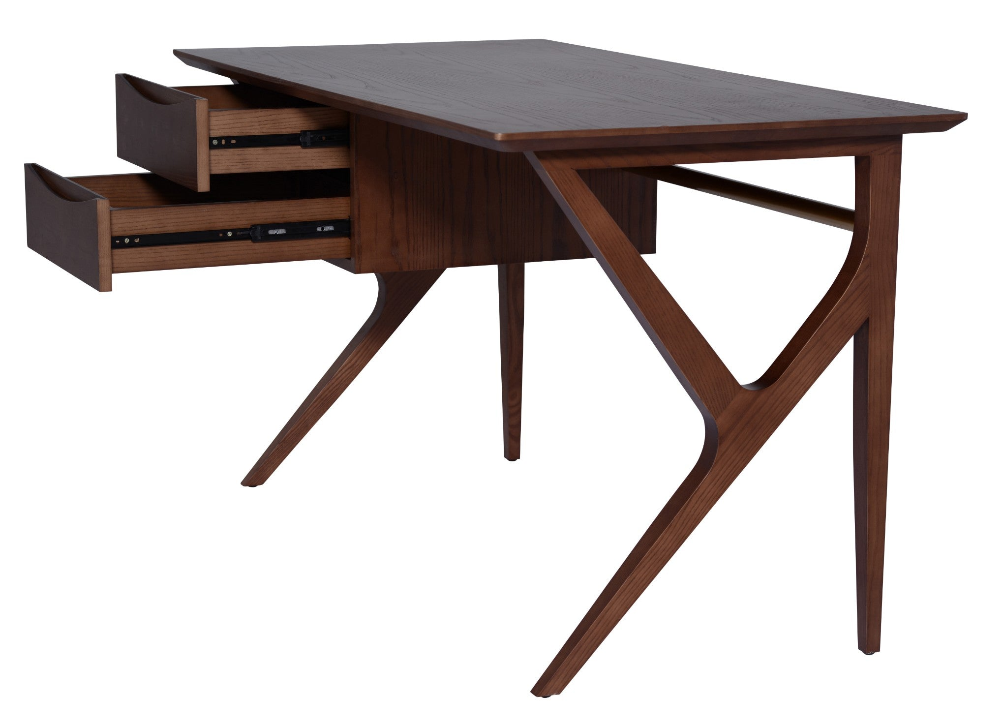 Image of: 53 Mid Century Modern Office Desk W Dark Walnut Stain Computerdesk Com