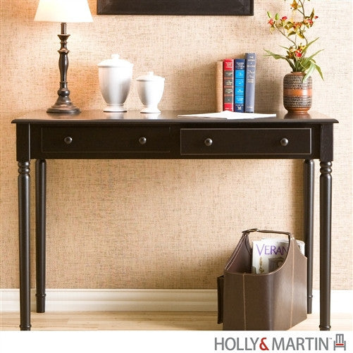 "42"" Elegant Black Veneer Office Desk with Drawers"