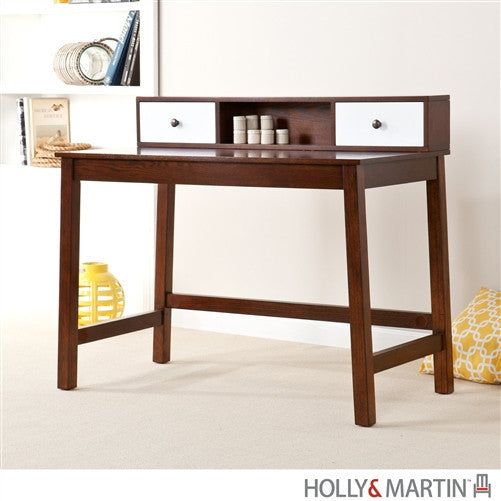 "43"" Espresso & White Modern Office Desk with Hutch"