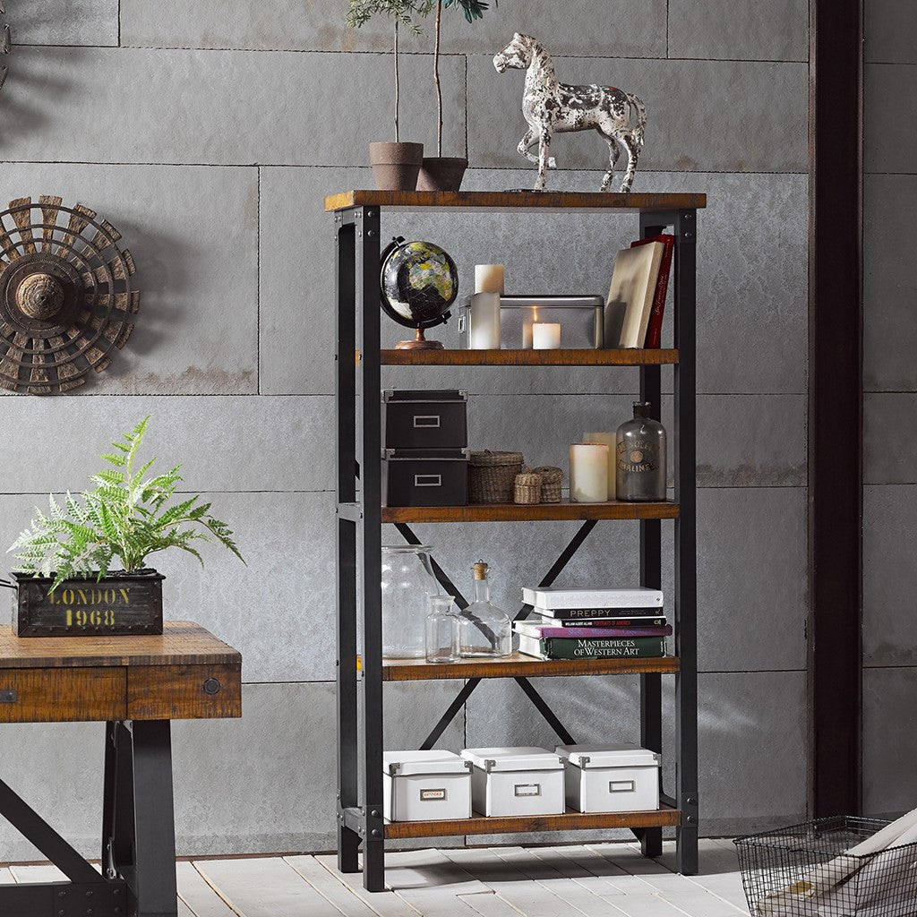 "Acacia & Graphite 68"" Modern Five Shelf Bookcase"