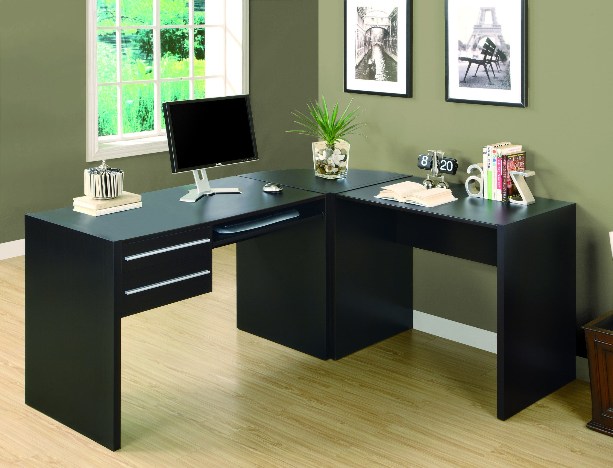 modern cappuccino l shaped desk with two drawers keyboard tray rh computerdesk com l shaped office desk with keyboard tray l shaped desk with corner keyboard tray