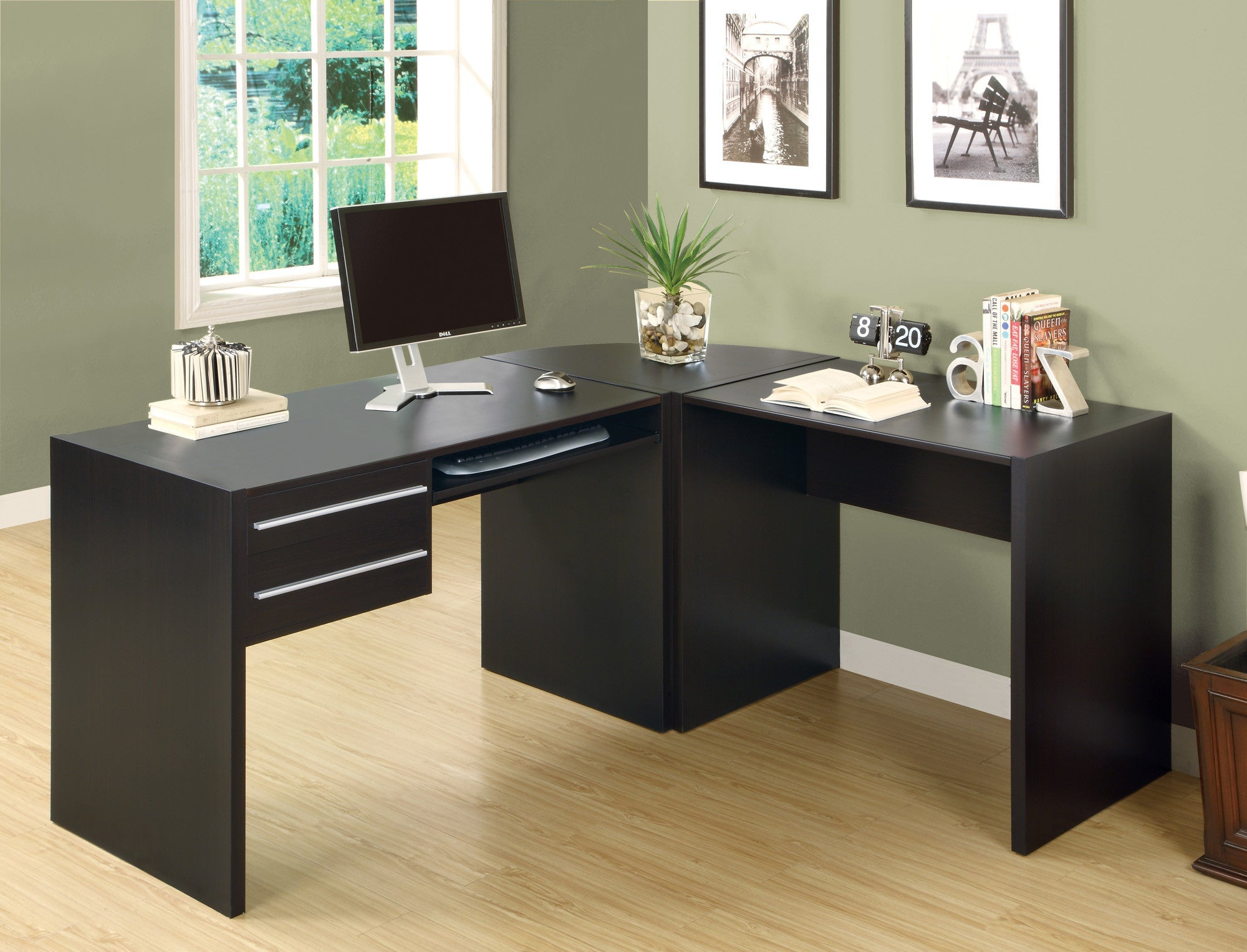 L-shaped Contemporary Office Desk in Cappuccino Finish