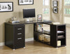Modern Cappuccino L-Shaped Desk with File Drawer & Open Shelving