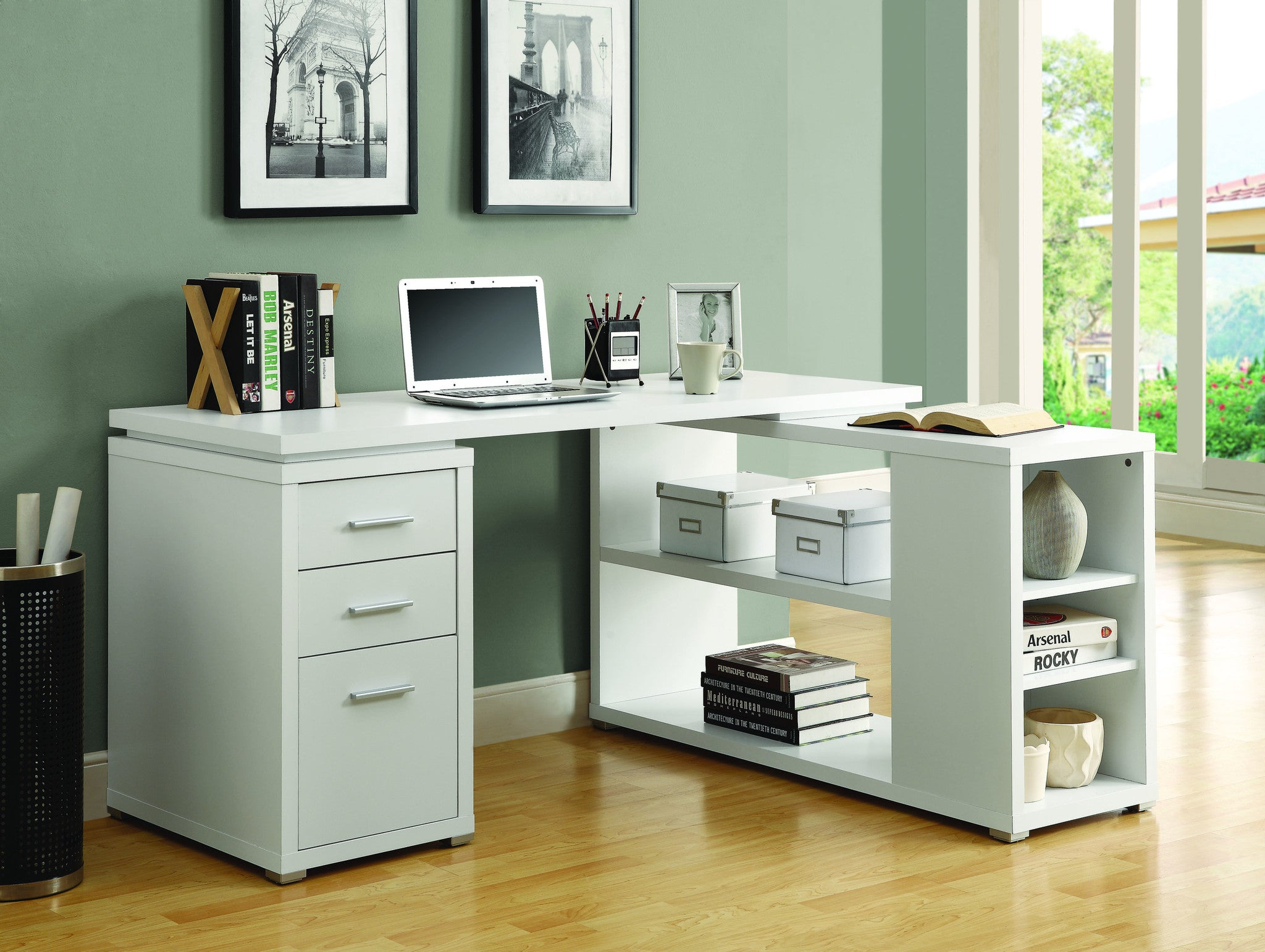"""33"""" X 33"""" Modern White L-Shaped Desk with File Drawer & Open Shelving"""