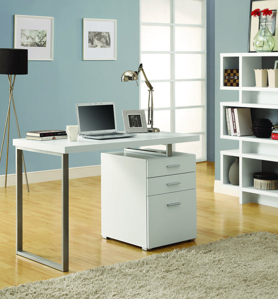 48 Quot Single Pedestal Modern White Desk With Floating Desk