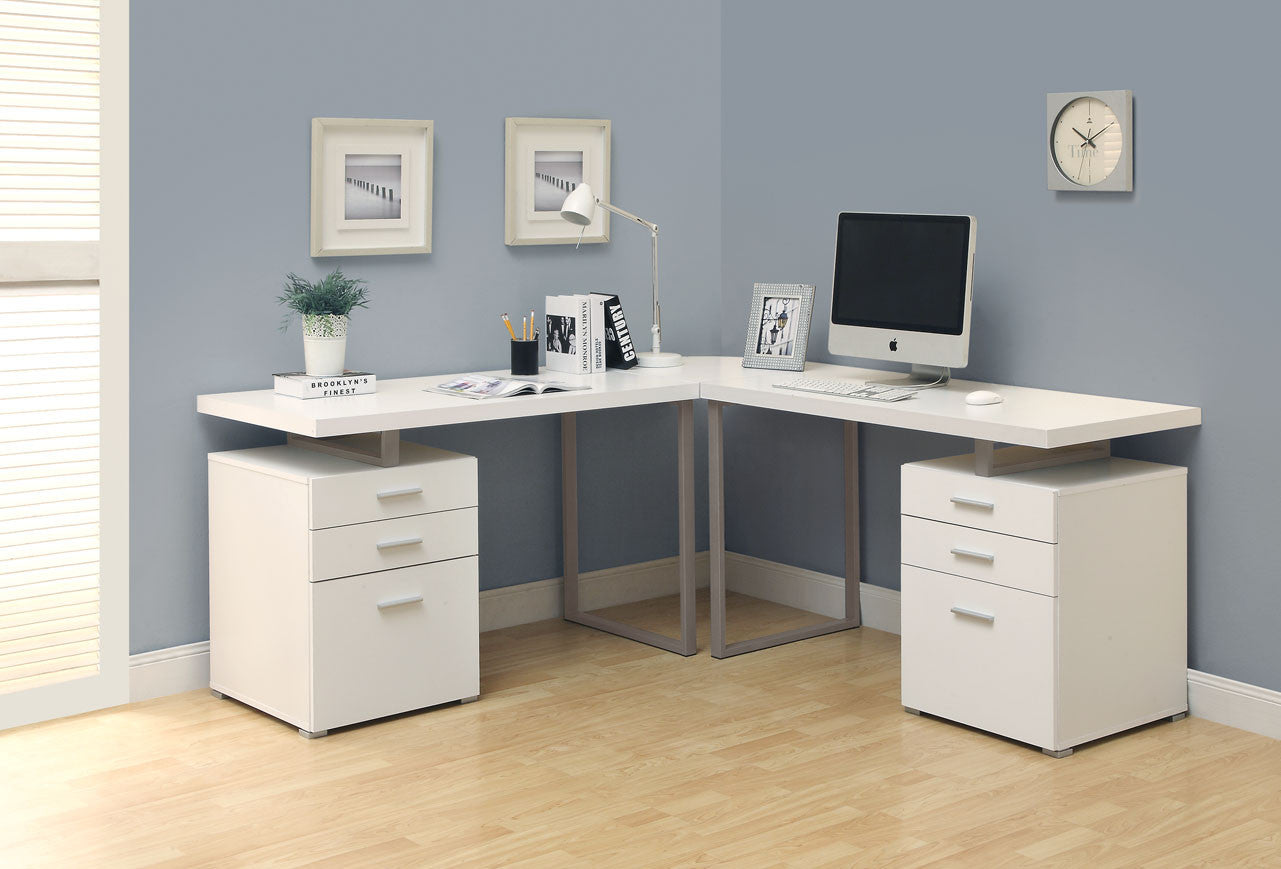 double pedestal modern computer desk in white finish computerdesk
