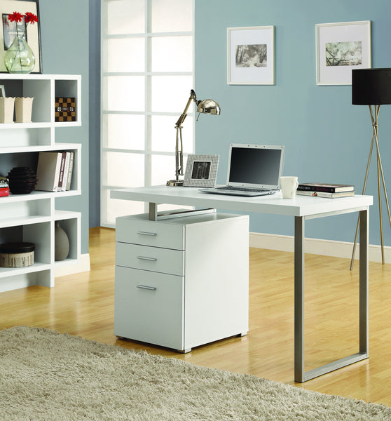 "48"" Single Pedestal Modern White Desk With Floating Desk"