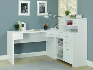 White Modern L-Shaped Desk with Great Storage