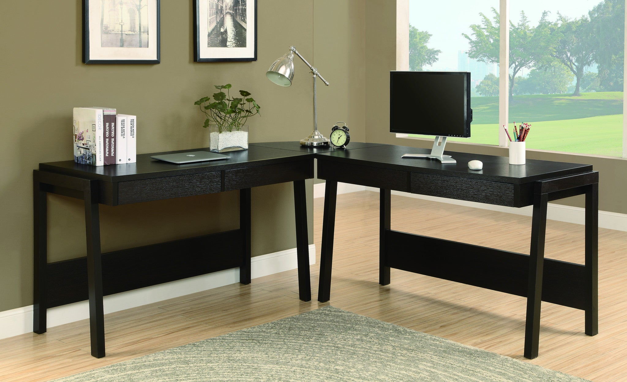 Contemporary L Shaped Modern Desk In Cappuccino With Four