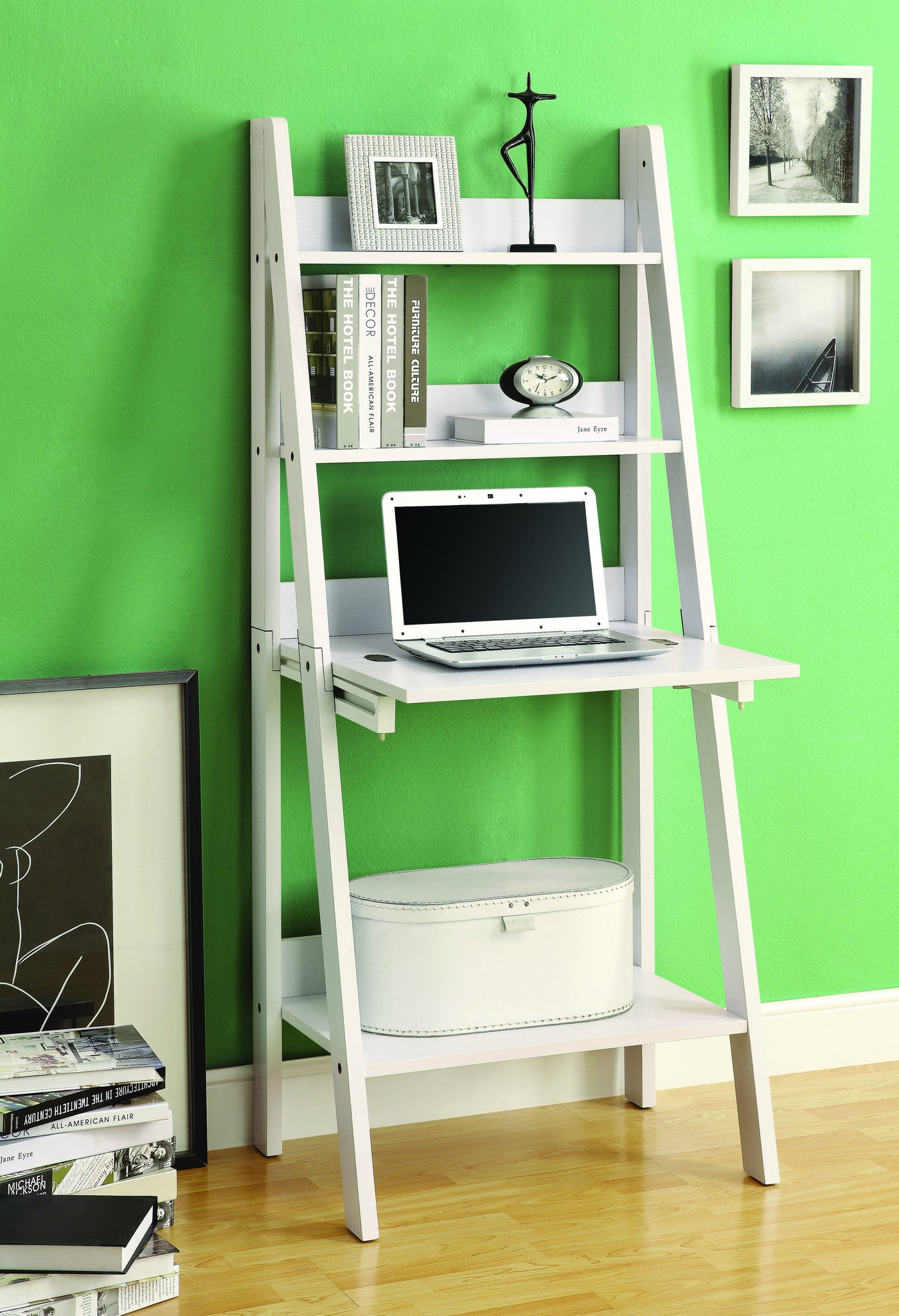 Modern White Ladder Desk & Bookcase Combination with Flip Down Desk