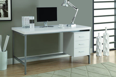 "Modern 60"" Three Drawer Desk in White Finish"