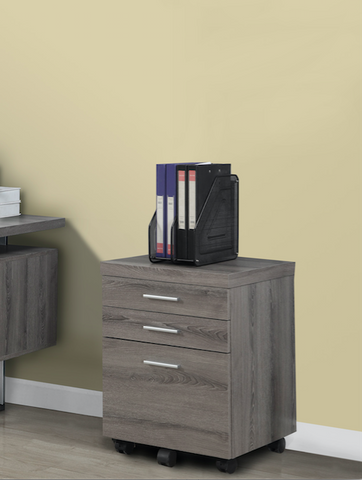 Modern Mobile File Cabinet in Dark Taupe