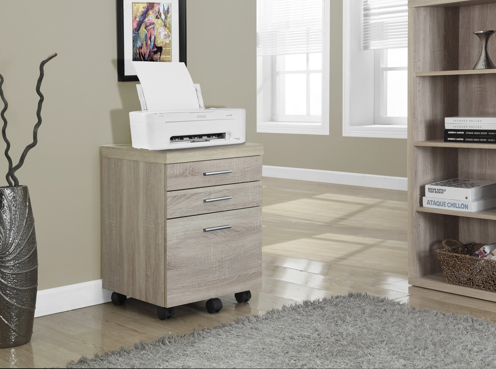 Modern Mobile File Cabinet in Natural